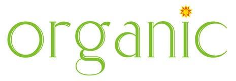 Logo organico verde con l'illustrazione del sole Fotografie Stock