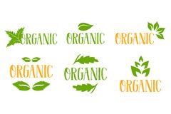 Logo organique de vecteur réglé dans des couleurs vertes et oranges avec plusieurs types de feuilles de fines herbes vertes illustration de vecteur