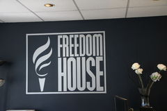 The logo of the organization Freedom house in their office in Washington, D.C. Royalty Free Stock Image