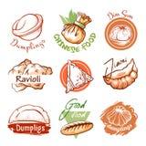 Logo orientale del ristorante degli gnocchi ed emblema del grafico illustrazione vettoriale