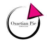 Logo Ossetian Pie Georgian-Lebensmittelküche oder für Lieferung Lizenzfreies Stockbild