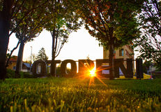 Logo from Otopeni city entrance. At sunset stock photo