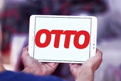 OTTO retailer logo. Logo of OTTO retailer on samsung tablet. OTTO is a broad based retailer that sells its own products alongside those of external brands and Stock Image