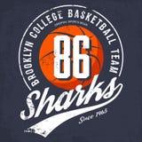 Logo ou bannière d'équipe d'université de basket-ball de Brooklyn illustration de vecteur