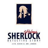 Logo ou emblème de Sherlock Holmes Illustration révélatrice Illustration avec Sherlock Holmes Rue 221B de Baker Londres GRANDE IN Photo stock