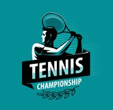 Logo ou label de championnat de tennis Concept de sport Illustration de vecteur Photos stock