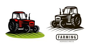 Logo ou label de tracteur de ferme Agriculture, cultivant, symbole d'agro-industrie Illustration de vecteur Illustration Stock