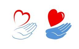 Logo ou label disponible de coeur Icône de charité Illustration de vecteur illustration de vecteur