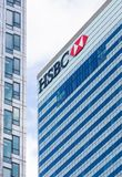 Logo ou signe pour HSBC à Canary Wharf Photos stock