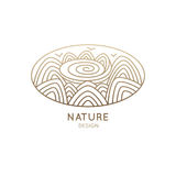 Logo oval nature. Vector logo of nature elements on white background. Linear icon of landscape with mountains, river, sun - business emblems, badge for a travel Royalty Free Stock Image