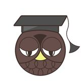 Logo owl hat graduate school or university Stock Photos