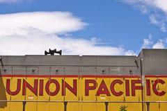Logo Pacifique des syndicats sur la locomotive Photo libre de droits