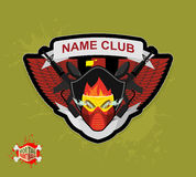 Logo paintball club. Mortal paintball. Guns and mask. Royalty Free Stock Images