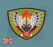 Logo paintball club. Mortal paintball. Guns and mask. Stock Photo