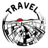 Logo painted, travel, people in search of adventure. Logo , travel, people in search of adventure Royalty Free Stock Photos