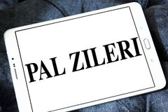 Pal Zileri clothing company logo. Logo of Pal Zileri clothing company on samsung tablet. Pal Zileri is an Italian brand specialized in both formal and casual Royalty Free Stock Images