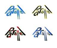 Logo paralela w różnorodnych kolorach ilustracja wektor