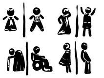 Logo and people. Girl, boy, women, men, elderly, disability, lady, and gentle man logos for several purpose Stock Photos