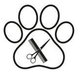 Logo per il salone di peli del cane, disegnante e negozio governare, deposito per i cani illustrazione vettoriale