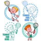 Logo per il torneo di tennis minore Scherza il tennis Illus di vettore Immagini Stock
