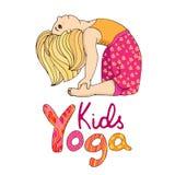Logo per yoga dei bambini Fotografia Stock Libera da Diritti