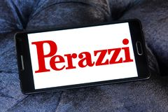 Perazzi shotguns company logo. Logo of Perazzi shotguns company on samsung mobile. Perazzi is a manufacturer of precision shotguns from Brescia, Italy Stock Photos