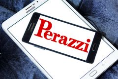 Perazzi shotguns company logo. Logo of Perazzi shotguns company on samsung mobile. Perazzi is a manufacturer of precision shotguns from Brescia, Italy Royalty Free Stock Image