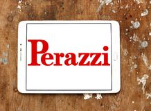 Perazzi shotguns company logo. Logo of Perazzi shotguns company on samsung tablet. Perazzi is a manufacturer of precision shotguns from Brescia, Italy Stock Photo