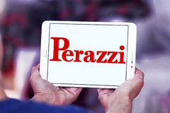 Perazzi shotguns company logo. Logo of Perazzi shotguns company on samsung tablet. Perazzi is a manufacturer of precision shotguns from Brescia, Italy Stock Photos
