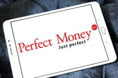 Perfect Money bank logo. Logo of Perfect Money payment system on samsung tablet stock image