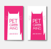 Logo for pet grooming salon with cat silhouette. Animals hair  Royalty Free Stock Image