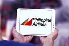 Philippine Airlines logo. Logo of Philippine Airlines on samsung tablet. Philippine Air Lines, is the flag carrier of the Philippines royalty free stock image