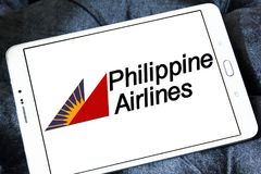 Philippine Airlines logo. Logo of Philippine Airlines on samsung tablet. Philippine Air Lines, is the flag carrier of the Philippines stock photos