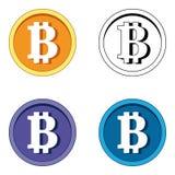 Logo piano del blockchain cripto di valuta di Bitcoin un insieme triangolare colorato del fondo Logo dell'autoadesivo del bitcoin Immagine Stock
