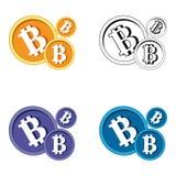 Logo piano del blockchain cripto di valuta di Bitcoin un insieme triangolare colorato del fondo Logo dell'autoadesivo del bitcoin Fotografia Stock