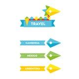 Logo piano della società di viaggio dell'uccello di vettore con l'identità Fotografie Stock Libere da Diritti