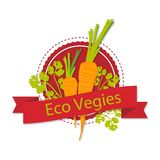 A logo with a picture of carrots and the words `Eco vegies`. Illustration Stock Image