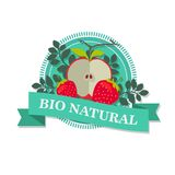 Logo with a picture of sliced red Apple and Victoria with the inscription `Bio natural`. Illustration Royalty Free Stock Photography