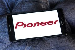 Pioneer Corporation logo. Logo of Pioneer Corporation on samsung mobile. is a Japanese multinational corporation that specializes in digital entertainment Royalty Free Stock Photography