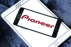 Pioneer Corporation logo. Logo of Pioneer Corporation on samsung mobile. is a Japanese multinational corporation that specializes in digital entertainment Royalty Free Stock Photo