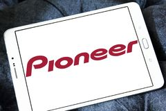 Pioneer Corporation logo. Logo of Pioneer Corporation on samsung tablet. is a Japanese multinational corporation that specializes in digital entertainment Royalty Free Stock Photos