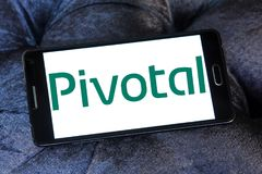 Pivotal Software company logo. Logo of Pivotal Software company on samsung mobile. Pivotal is a software and services company Stock Images