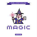Logo pixel art wizard magician magic, vector Stock Photo