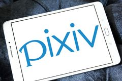 Pixiv online community logo. Logo of Pixiv online community on samsung tablet. Pixiv is a Japanese online community for artists. Pixiv aims to provide a place Stock Photos