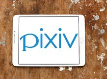 Pixiv online community logo. Logo of Pixiv online community on samsung tablet. Pixiv is a Japanese online community for artists. Pixiv aims to provide a place Stock Image