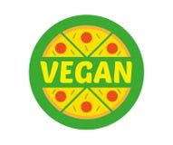 Logo pizza. Logo flat icon element circle hot appetizing piece of abstract vegan pizza. Fresh light eco vegetarian 100 natural raw vegan eat street food Royalty Free Stock Image