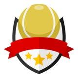 Logo plat de balle de tennis avec le ruban sur le blanc Images stock