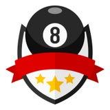 Logo plat de boule de billards avec le ruban sur le blanc Image libre de droits