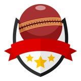 Logo plat de boule de cricket avec le ruban sur le blanc Image stock