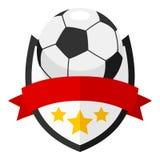 Logo plat de boule du football avec le ruban sur le blanc Photos stock